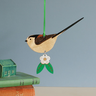 Hanging Long-Tailed Tit Wooden Decoration with Flower - Hand Painted