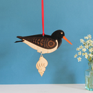 Hanging Wooden Oyster Catcher Decoration - Etched and Hand Painted