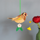 Wooden Goldfinch Bird Hanging Decoration with Hawthorn Flower