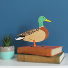 Standing Wooden Mallard Duck Decoration Ornament - Etched and Hand Painted