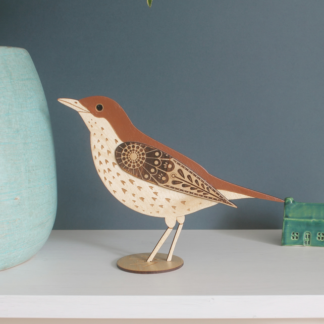 Standing Wooden Mistle Thrush Decoration - Hand Painted