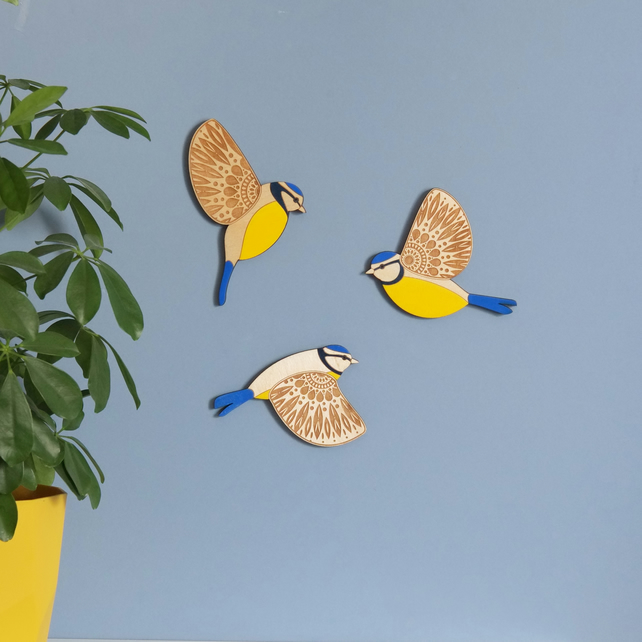 Folk Art Inspired Wooden Flying Blue Tits - Wall decor Hangings