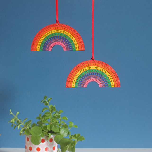Wooden Rainbow Hanging Decoration - Hand Painted