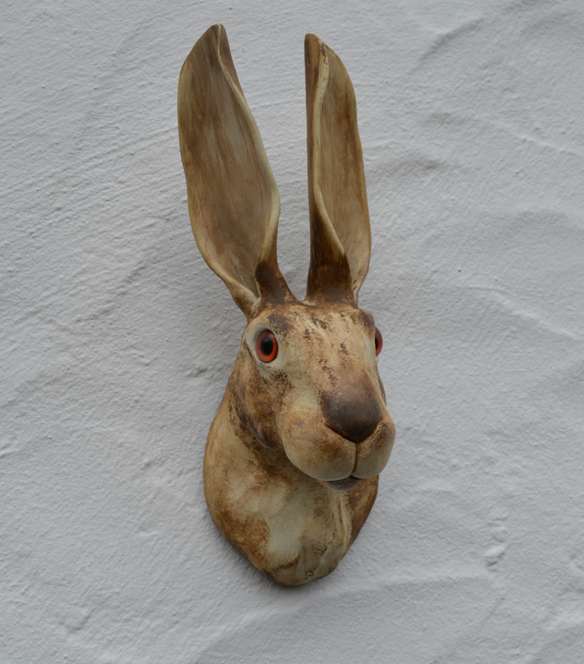 Hare sculpture - wall mounted art - mixed media - air-dry clay and apoxie clay