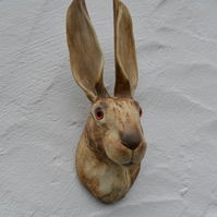 Hare sculpture, wall mounting, rabbit, home decor