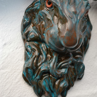Hare sculpture - wall mounted art - copper and verdigris - home decor