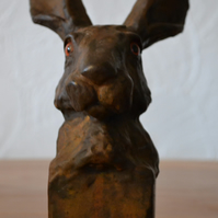 Hare sculpture - mixed media - home decor - bronze rust colour - statue