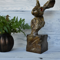 Hare sculpture, statue, individual design, clay art