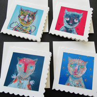 Mini Cat Greetings Cards Tiny Set of Four Miniature Mini Crazy Cats Kitten Art