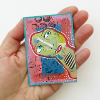 ACEO Miniature Mini Tiny Painting Outsider Folk Artwork Collectable Art Cards