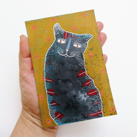 Cat Painting Grey Stripey Kitten Wall Art Quirky Whimsical Moggy Artwork Gift