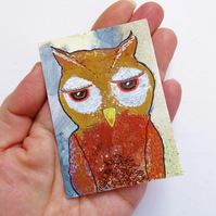 Baby Owl Painting Quirky ACEO Whimsical Cute Woodland Wildlife Birds Nature Art