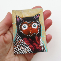 Whimsical Owl Art Tiny Painting Original ACEO Cute Quirky Woodland Birds Artwork