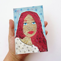 Female Portrait Painting Blue Eyed Girl Quirky Face Art Red Auburn Ginger Hair