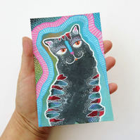 Black Cat Painting Cute Striped Kitty Quirky Weird Kitten Contemporary Artwork