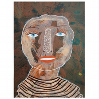 Outsider Art Portrait Painting Primitive Naive Artwork Quirky People Faces Art