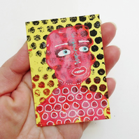 ACEO Surreal Portrait Painting Folk Outsider Art Spooky Miniature Mixed Media