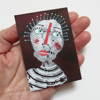 Miniature Portrait Art ACEO Tiny Painting Outsider Folk Art Weird Odd People