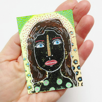 ACEO Woman Painting Expressive Girl's Face Portrait Art Female Miniature Drawing