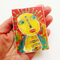 ACEO Embellished Altered Art Print Mixed Media Quirky Fun Unusual Alternative