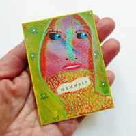 ACEO Embellished Miniature Print Colourful Quirky Surreal Art Trading Card ATC
