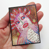 ACEO Hand Embellished Print Quirky Mixed Media Weird Art Trading Card ATC