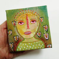 Portrait Miniature Canvas Art Naive Primitive Spooky Weird Strange Goth Painting