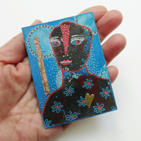 ACEO Embellished Miniature Print Colourful Mixed Media Miniature Collage Art