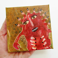 Quirky Monster Painting on Canvas Weird Expressive Odd Spooky Miniature Art