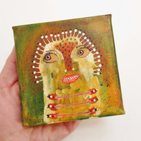 Small Canvas Art Original Painting Naive Weird Primitive Outsider Folk Artwork