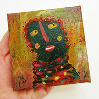 Outsider Folk Art Weird Miniature Canvas Painting Cute Ugly Monster Figure 4x4""