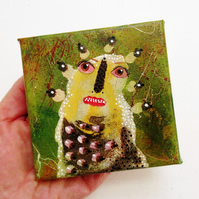 "Weird Miniature Wall Art Quirky Primitive Monster Figure Portrait 4x4"" Canvas"