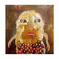 Small Canvas Art Surreal Painting Naive Weird Surreal People Expressive Portrait