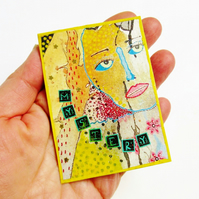 ACEO Mixed Media Print Abstract Face Portrait Collage Weird MYSTERY Art Card ATC
