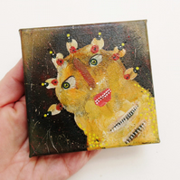 Original Painting Fantasy Art Tiny Canvas Weird Primitive Outsider Folk Artwork