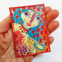 ACEO Mixed Media Print Quirky Fantasy People Portrait Art Trading Card ATC