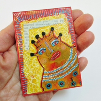 Mixed Media ACEO Print Colourful Fantasy People Portrait Art Trading Card ATC