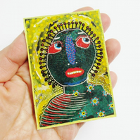 ACEO Mixed Media Print Weird Face Miniature Portrait Quirky Strange Figures