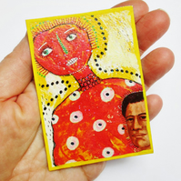 ACEO Mixed Media Print Colourful Weird Fantasy People Portrait Folk Naive Art