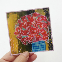 Floral Painting Original Miniature Art Red Flowers Roses Still Life Artwork Gift