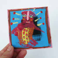 Outsider Folk Art Painting Weird Man Miniature Painting Abstract Surreal 4 x 4""