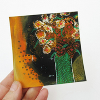 "Original Flower Painting Mini Floral Art 4x4"" Still Life Contemporary Artwork"