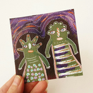 Weird People Painting Miniature Figurative Naive Quirky Folk Art Spooky Strange