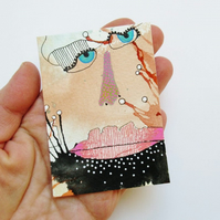 ACEO Weird Face Painting Primitive Surreal Miniature Artwork Weird Scary People