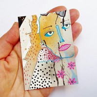 ACEO Weird Portrait Art Mini Abstract Face Painting Surreal People Watercolour