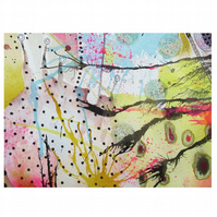 Abstract Painting Small Multicolour Minimal Ink Splashes Funky Watercolour