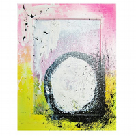 Modern Abstract Painting Graffiti Urban Pop Art Colourful Textured Pink Black