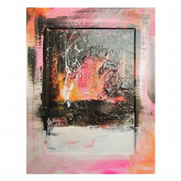 Modern Abstract Art Painting Colourful Graffiti Urban Textured Pink Black Grey
