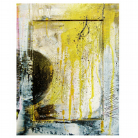 Modern Abstract Painting Yellow Grey Graffiti Urban Street Grunge Art Colourful