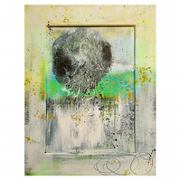 Abstract Painting Yellow Green White Urban Graffiti Raw Contemporary Grunge Art